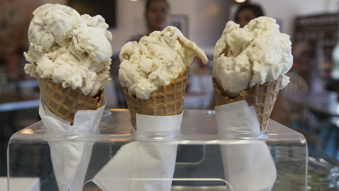 Waffle cones packed with ice cream await customers at Walrus Ice Cream in Old Town in 2015.