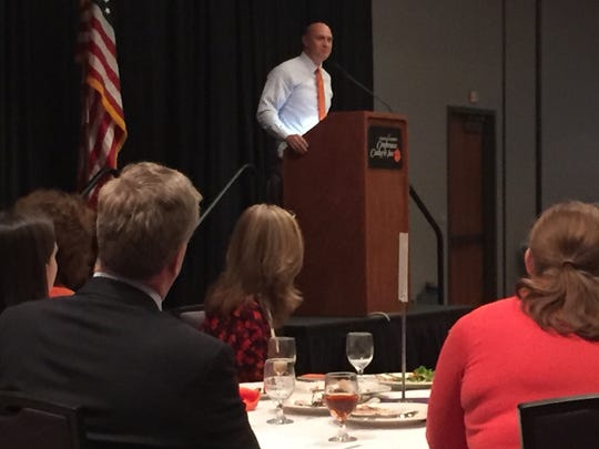 Clemson University President Jim Clements addresses members of the Clemson Area Chamber of Commerce at the annual State of Clemson luncheon Tuesday.