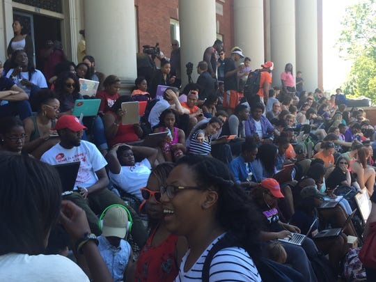Clemson University students at Day 6 of a sit-in over racial inclusion at Sikes Hall.