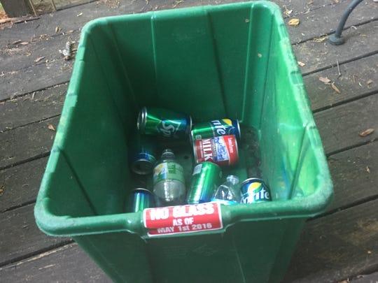 An Easley recycling bin.
