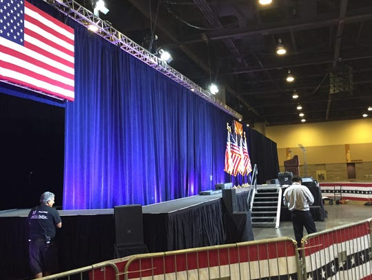 The stage at the Phoenix Convention Center is set up
