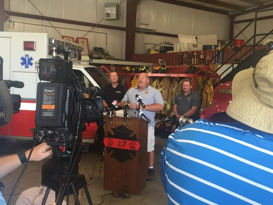 Townville Fire Chief Billy McAdams speaks to the media Thursday afternoon.