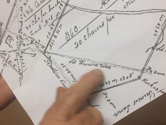 Ron Barnett Dennis Chastain explains the significance of this plat he discovered showing the route of the Cherokee Path through Six Mile. Dennis Chastain explains the significance of this plat he discovered showing the route of the Cherokee Path through Six Mile.