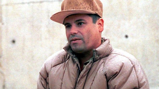 A file picture dated Jan. 20, 2001, shows Mexican drug lord Joaquin Guzman Loera, alias 'El Chapo', during his presentation at La Palma jail in La Palma, Mexico.