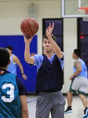 NWTC student Ben Williams takes a shot during a 3-on-3