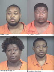 Top: Tyler Ayers and Terence Ayers. Bottom: Toursean Pressley and Jemantae Perkins.