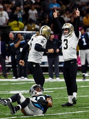 New Orleans Saints kicker Wil Lutz (3) celebrates after