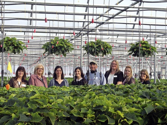 """Attendees of the Gettysburg Adams Chamber of Commerce County Connections Breakfast, held Oct. 21 at the Adams County Winery in Orrtanna, visited local business Musselman Greenhouses in Cashtown as part of a """"Cash Mob."""" Each member spent at least 5 at the business to show the economic might of the chamber. Pictured, from left, are: Kathy Gilbert, Gettysburg Day Spa; Deb Sites, ACNB Bank; Amy Rohrbach, Musselman Greenhouses; Jennifer McCleaf, chamber membership and events director; Pat Pileggi, The Corner Brick; Katherine Smith, American Heart Association; Rachel Sease, Gettysburg Dance Center; and Nadine Pileggi, The Corner Brick."""