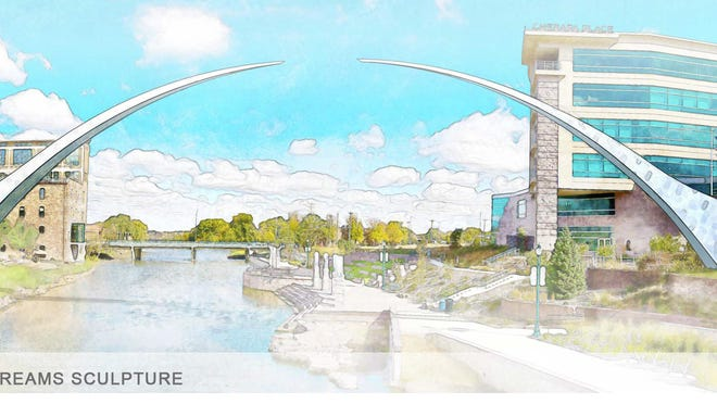 This architectural rendering shows how the Arc of Dreams would frame the Big Sioux River between Sixth and Eighth streets.