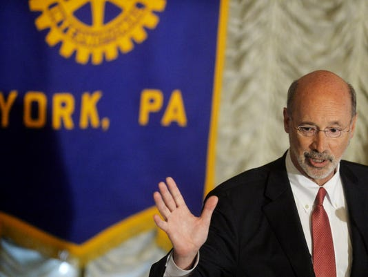 Gov. Tom Wolf addresses education funding at a Rotary Club of York meeting on Wednesday July 29, 2015, at the Yorktowne Hotel.
