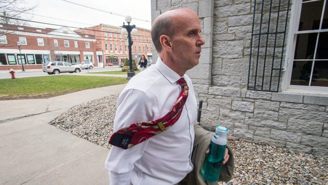 Cal Harris enters Schoharie County Court before opening statements on March 31.