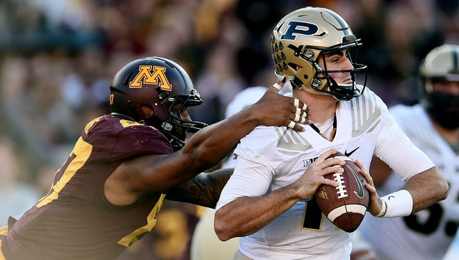 Purdue quarterback David Blough has passed for 2,921 yards and 21 touchdowns but also has 16 interceptions.