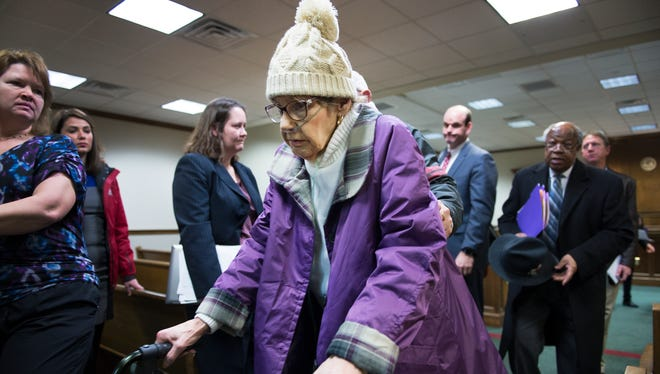 Regina Tague, mother of Todd Kohlhepp, leaves the courtroom following a hearing for a lawsuit filed by Kayla Brown against her son at Spartanburg County Courthouse on Thursday, January 5, 2017.