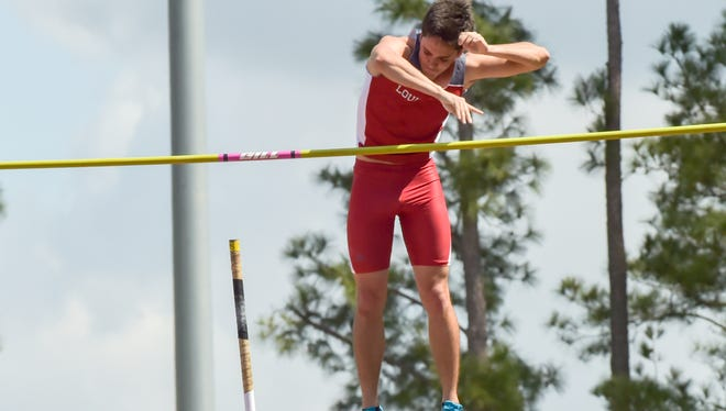 Matt Wilson competes in the mens pole vault during the Louisiana Classics track meet- Saturday, March 18, 2017.
