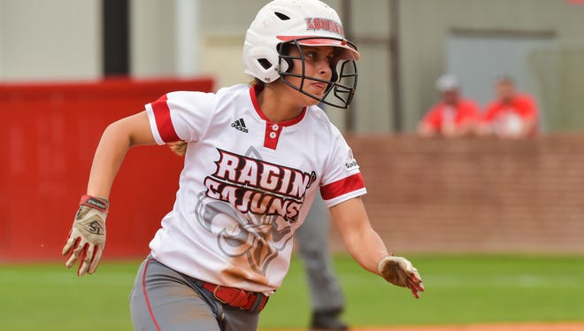 UL senior Kassidy Zeringue puts her great speed to use during the Cajuns' doubleheader sweep of Coastal Carolina.