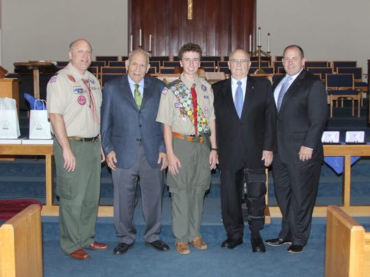 Grant Fox, John P. Fox, John Martin Fox, Marcus Martin and Marc Martin.  This is John with his two grandads, his Uncle Marc and me, all Eagle Scouts