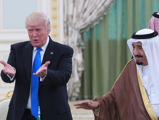 Saudi king, Trump, meet