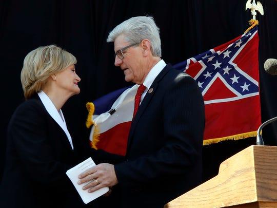Mississippi Gov. Phil Bryant, congratulates state Agriculture