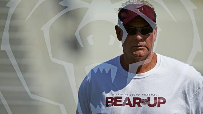 Double exposure view of Missouri State head football coach Dave Steckel during practice at Robert W. Plaster Stadium in Springfield on Aug. 25. Steckel's first game leading the Bears, an away game against FBS-member Memphis on Sept. 5, is fast approaching.