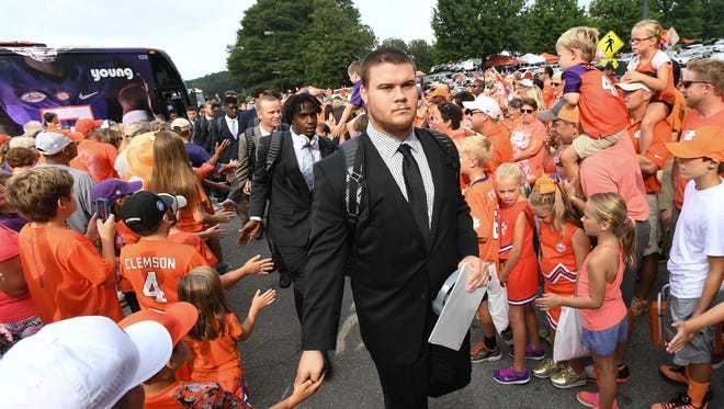 Clemson players and fans take part in Tiger Walk before their game against SC State on Saturday, September 17, 2016 at Clemson's Memorial Stadium.