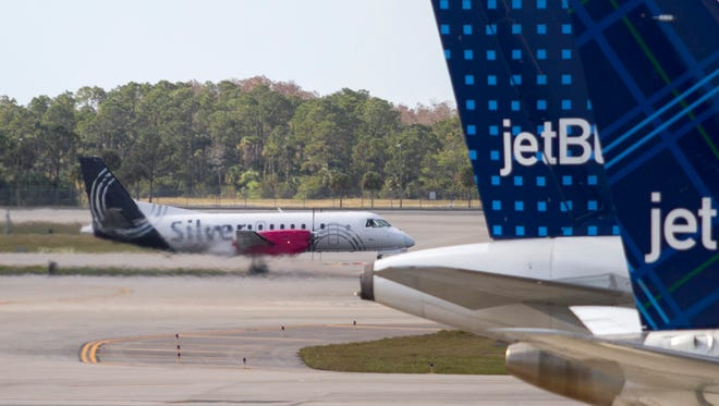 March 10, 2016 file photo of a Silver Airways flight arriving at Southwest Florida International Airport.