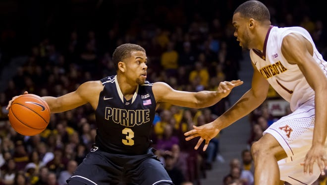 Purdue coach Matt Painter was pleased with how P.J. Thompson (3) came into a tough situation at Minnesota after not playing the previous two games.