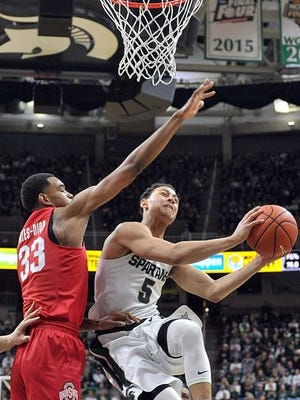 Bryn Forbes makes a strong move to the basket during MSU's win over Ohio State on Saturday.