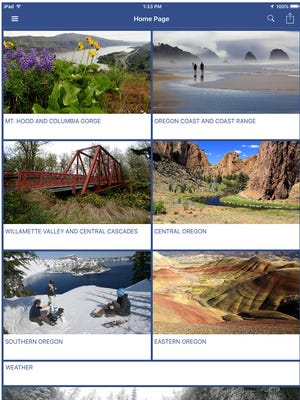Screenshot of the Explore Oregon app, free for download in the Apple and Google app stores.