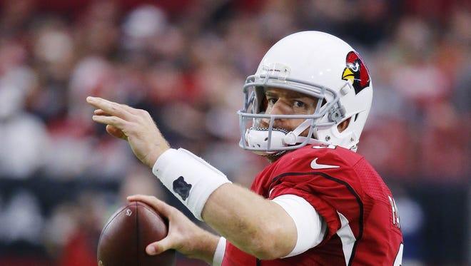 Arizona Cardinals quarterback Carson Palmer (3) throws in their NFL game Sunday, Nov. 13, 2016 in Glendale,  Ariz.