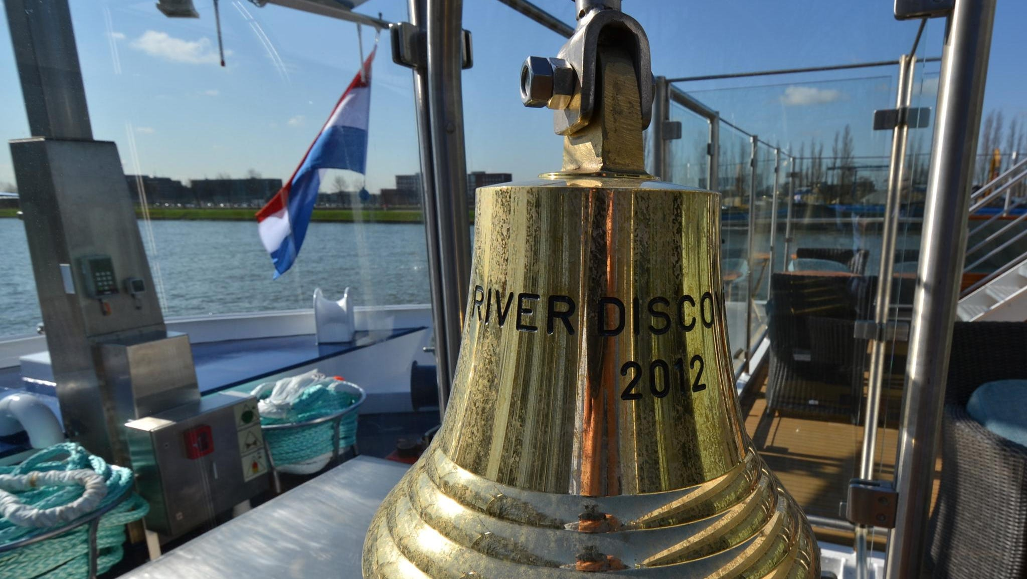 The ship's bell, located at the front of the vessel.