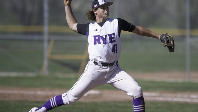 Rye High School's Bryce Benz throws a pitch against Peyton in the top of the fifth inning during the Thunderbolts 7-3 win April 30, 2019, on their home field in Colorado City.