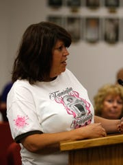 Bloomfield resident Rosanna Nicks speaks about the cancellation of Bloomfield's contract with Red Apple Transit during a Bloomfield City Council meeting on Monday at Bloomfield City Hall.
