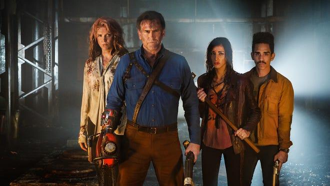Lucy Lawless, Bruce Campbell, Dana DeLorenzo and Ray Santiago in Starz's 'Ash vs. Evil Dead.'