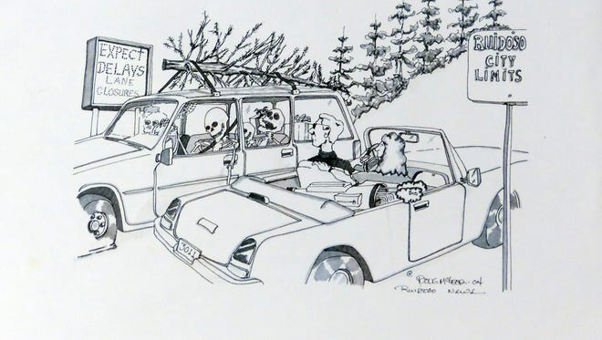 This cartoon about traffic delays in midtown and during special events in Ruidoso didn't sit well with at least one former village councilor.