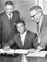 Damon Keith, left, Willie Horton and former Detroit Tigers owner John Fetzer are shown in this 1961 photo.