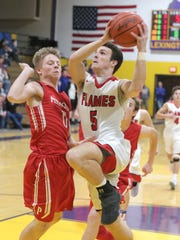 Mansfield Christian's Jared McPeek makes a jump shotr while playing in sectionals against Plymouth at Lexington High School on Tuesday.