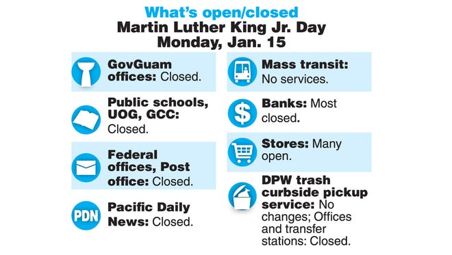 What's open, what's closed on Guam on Martin Luther King Jr. Day, Jan. 15, 2018.