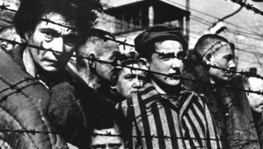Auschwitz survivors during the 1945 liberation of the Nazi concentration camp in Poland.