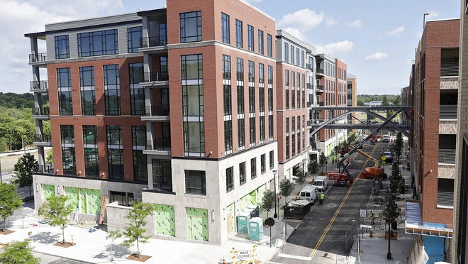 Work is progressing on the North Market's Dublin location, which will occupy the ground floor of a six-story building rising at Longshore Street and Tuller Ridge in Bridge Park.