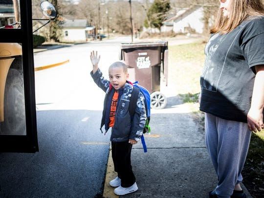 March 3, 2016: Jada Walker helps sends her son, Michaellii, 5, off to school. Walker has been off heroin since 2009, and says that methadone saved her.