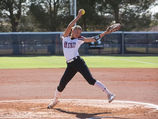 Kayla Green winds up to throw a pitch to a waiting