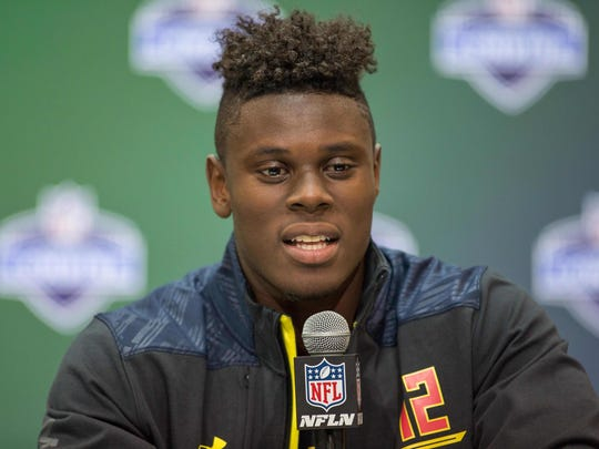 David Njoku speaks to the media during the 2017 combine at Indiana Convention Center on March 3, 2017