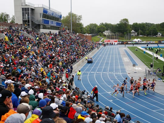 Runners take off in the 1A boys 1600 meter run Saturday,