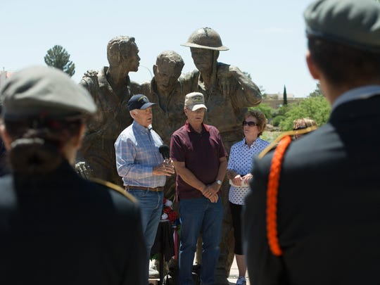 U.S. Rep. Steve Pearce, R-N.M., speaks about George Gay, who served in World War II and was a prisoner of war. George's son, Hurbert Gay, center, stands with his family in front of the Bataan Death March Memorial to receive his father's posthumously awarded Bronze Star, European -African-Middle Eastern Campaign Medal and Combat Infantryman Badge Friday May 25, 2018.
