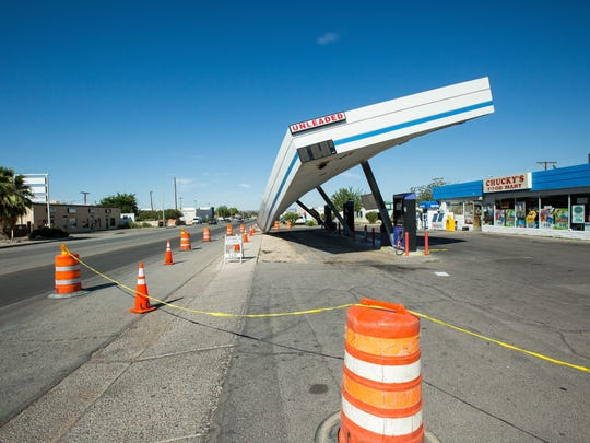 The canopy over the gas pumps at Chucky's Food Mart collapsed due to the strong thunder storm that hit Las Cruces, Thursday night. The store and gas pumps are currently surounded by caution tape and barrels Friday August 17, 2018.