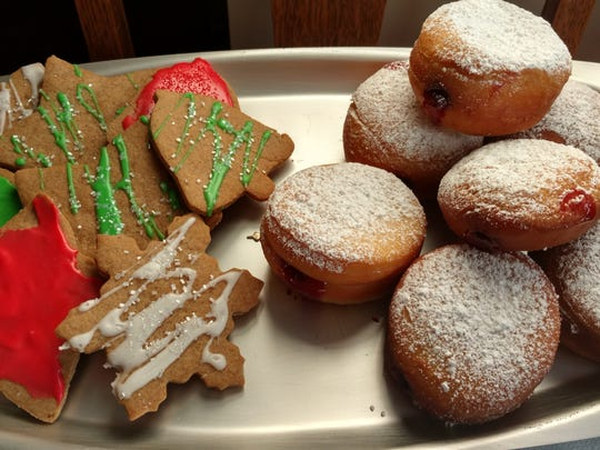 Molasses and Spice Cut-Outs, left, and Sufganiyot