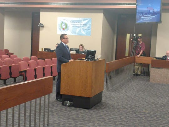 District Attorney Jaime Esparza presents the First Chance program to County Commissioners in October. The program was approved.