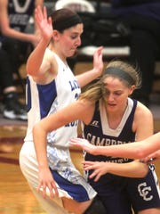 Campbell County junior Taylor Clos runs into a Mason County player in transition.