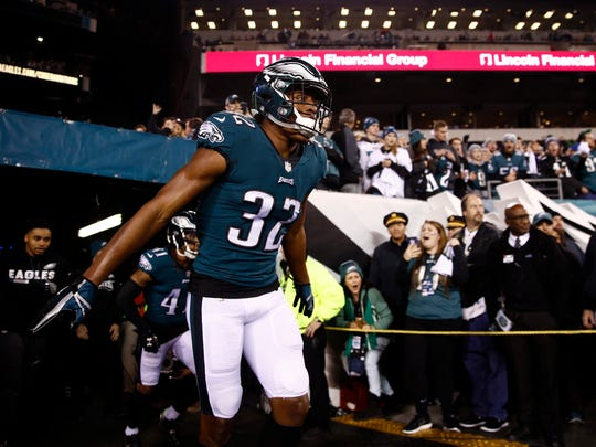 Philadelphia Eagles' Rasul Douglas takes the field before the NFL football NFC championship game against the Minnesota Vikings Sunday, Jan. 21, 2018, in Philadelphia.
