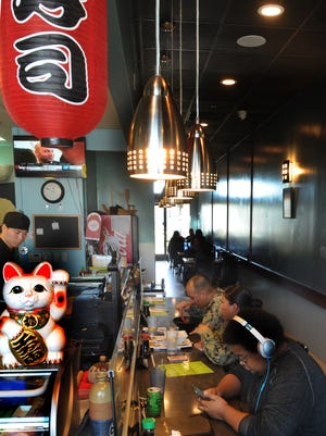 The dining area of Kitanoya in Oxnard is long and slender. The restaurant features both indoor and outdoor seating.